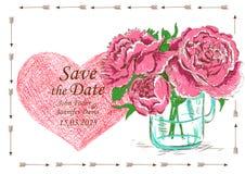 O convite do casamento com frasco e peônia de pedreiro floresce Fotos de Stock