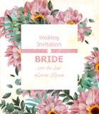 O convite do casamento com margarida delicada floresce o vetor Ilustrações bonitas do fundo do cartão Imagens de Stock Royalty Free