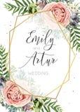 O convite do casamento, floral convida, salvar o DES do vetor do cartão de data Fotografia de Stock Royalty Free