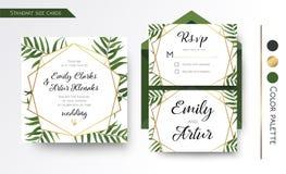 O convite do casamento, salvar a data, rsvp convida o projeto de cartão com ilustração royalty free