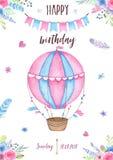 O convite feliz do cartão da festa de anos da aquarela com a festão do balão de ar e os ramalhetes das flores empluma-se Fotografia de Stock Royalty Free