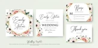 O convite floral do casamento elegante convida, obrigado, cartão v do rsvp ilustração stock