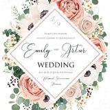 O convite floral do casamento elegante convida o projeto do vetor do cartão O rosa da flor do jardim, alfazema Rosa, a cera branc ilustração stock