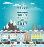 O convite ou os invernos cardam o Feliz Natal e o ano novo feliz ilustração stock