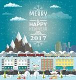 O convite ou os invernos cardam o Feliz Natal e o ano novo feliz ilustração royalty free