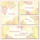 O convite, salvar os cartões de data com folhas de outono Fotografia de Stock