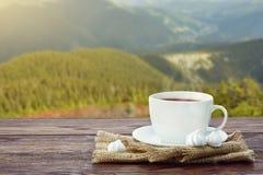 O copo com chá na tabela sobre montanhas ajardina com luz solar Foto de Stock