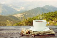 O copo com chá na tabela sobre montanhas ajardina com luz solar Foto de Stock Royalty Free