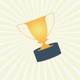 O copo da concessão do troféu no amarelo irradia o fundo Ilustração Stock