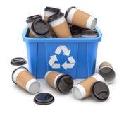 O copo de café para viagem no azul recicla a caixa ilustração do vetor