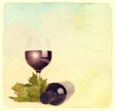 O copo de vinho, a garrafa do vinho e as uvas folheiam imagens de stock