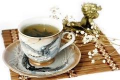 O copo do chá verde e do dinheiro isolou a árvore em um branco Fotografia de Stock Royalty Free