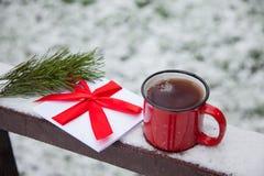 O copo vermelho e um cartão em uma ponte da neve em um inverno estacionam Imagem de Stock Royalty Free