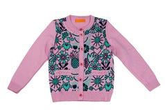 O ` cor-de-rosa s das crianças fez malha a camiseta com teste padrão Isolado no branco Imagens de Stock