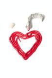 O coração é desenhado por uma pintura de petróleo Imagens de Stock Royalty Free