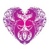 O coração é feito dos pares de seahorses Fotos de Stock Royalty Free