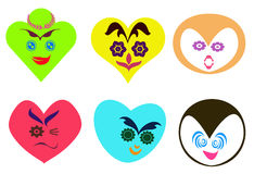 O coração abstrato deu forma às caras com fundo diferente da expressão Foto de Stock