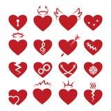 O coração abstrato simples dá forma a ícones O vetor queimou-se e quebrado, perfurado pela seta, sinais dos corações do buraco da Imagem de Stock