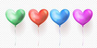 O coração balloons o grupo transparente de ballons lustrosos isolados para o dia de Valentim, o casamento ou o projeto de cartão  ilustração stock
