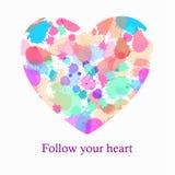 O coração bonito com respingo acende o fundo Foto de Stock