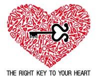 O coração com chaves Foto de Stock Royalty Free