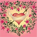 O coração com rosas e espinhos Imagens de Stock