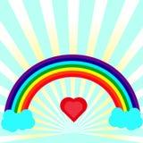 O coração contrário do arco do arco-íris no centro contra um fundo da divergência irradia Imagens de Stock Royalty Free
