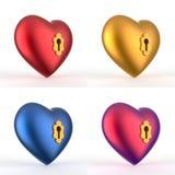 O coração 3D do buraco da fechadura ajustou 2 Fotografia de Stock