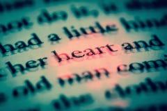O coração da palavra em um livro no fim inglês acima, macro, destacado no vermelho O texto no livro com efeito 3D imagem de stock royalty free