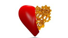 O coração das engrenagens, o conceito da boa saúde, coração mecânico, laço do vídeo do canal alfa ilustração stock
