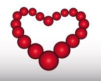O coração das esferas vermelhas Fotos de Stock Royalty Free