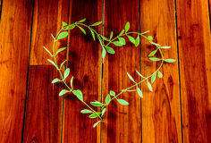 O coração das folhas é OM a madeira Fotografia de Stock