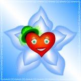 O coração de uma mulher está na flor azul grande com pérolas Imagem de Stock