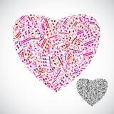 O coração decorativo bonito do vetor encheu-se com o isolador das notas musicais Fotografia de Stock