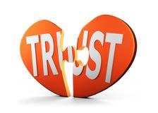 O coração deu forma ao enigma com palavra CONFIANÇA, ilustração 3D Foto de Stock Royalty Free