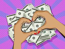 O coração deu forma ao quadro feito com mãos, símbolo da riqueza e acumulação de dinheiro estilo do pop art Fotografia de Stock
