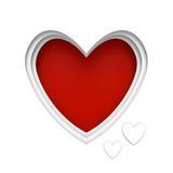 O coração deu forma ao quadro sobre o fundo vermelho com espaço center para uma mensagem do dia de Valentim Fotos de Stock Royalty Free
