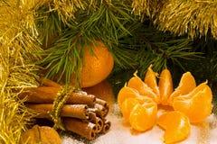 O coração deu forma a cookies do gengibre com a canela e as fatias do mandarino, polvilhadas com o açúcar pulverizado imagem de stock royalty free