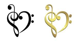 O coração deu forma do clef de triplo e do clef baixo Imagem de Stock Royalty Free
