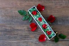 O coração deu forma a doces de chocolate na caixa e na rosa imagens de stock royalty free