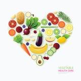 O coração dos cuidados médicos do alimento do vegetal e do fruto de Infographic dá forma Imagens de Stock