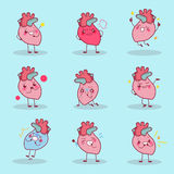 O coração dos desenhos animados faz a emoção diferente Imagem de Stock