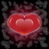 O coração e o branco vermelhos do brilho morrem fundo do coração ilustração do vetor
