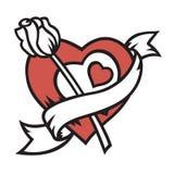 O coração e levantou-se Imagem de Stock