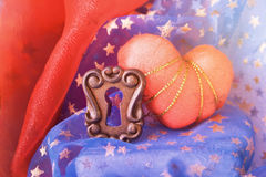 O coração e o buraco da fechadura Imagem de Stock