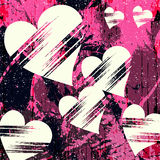 O coração e o grunge brancos texture grafittis abstratos do teste padrão Imagens de Stock