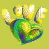 O coração e a palavra amam tirado com giz colorido Foto de Stock