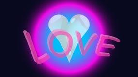 O coração em uma bolha, círculo, coração original favorito de incandescência do feriado de néon da bola com amor da inscrição das ilustração stock