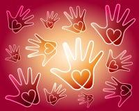 O coração entrega o fundo Imagens de Stock