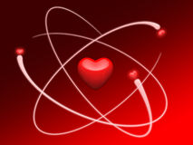 O coração gosta de um modelo do átomo ilustração stock